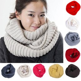 Wholesale Cable Knit Scarfs - Wholesale-Winter Warm Two Circle Cable Knit Cowl Neck Long Men Women Unisex Winter knitting Wool Collar Neck Warmer Scarf Shawl