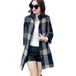 Wholesale Woolen Jackets For Women - 2016 Fashion Slim And Long Sections Winter Coat Women Plaid Three Quarter Sleeve Winter Woolen Jacket For Women Wool Coat ZY992