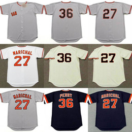 Wholesale G 27 - men youth 27 JUAN MARICHAL 36 GAYLORD PERRY San Francisco G Cooperstown Away Baseball Jersey