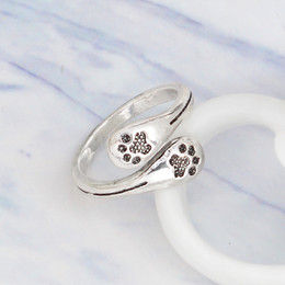 Wholesale Fashion Adjustable Rings - New fashion Crystal Love Animal Jewelry Dog Paw Print Ring Vintage Women Dog Paw Open Adjustable Rings