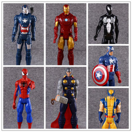 Wholesale toy items - 7 Styles 30cm Captain America Ironman Avengers Model PVC Action Figure Super Hero Cartoon Collectable Toys Novelty Items CCA9572 20pcs