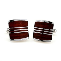 Wholesale french style weddings - Red wood stainless steel cufflinks A variety of styles French Men Cufflinks Luxury Wedding Groom Groomsmen Gift Suit YG07
