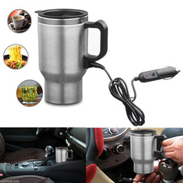 Wholesale 12v Coffee - Car Vehicle Heating Cup 450ml 12V Mounting Thermos Cigarette Lighter Socket Type Heat Insulation Water Milk Coffee Heating Cup