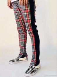 Wholesale fashion scotland - 2018 Mew Best version men Selvedge zipper Scotland plaid Joining together Men pants justin bieber Fashion Casual grid pants fog