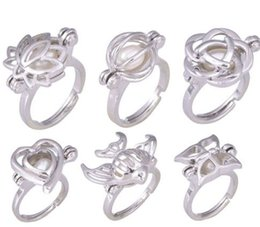Wholesale wedding jewery - Pearl Cage Rings Elegant Flower Finger Ring Pearl Ring for Women Party DIY Ring Jewery 6 Styles