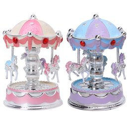 Wholesale Kids Carousel - Wholesale-Carousel Music Toy Merry Go Round Musical Plays Gift Toy Kid Wedding Home Decor Relogio Infantil Baby Toys 13-24 Months
