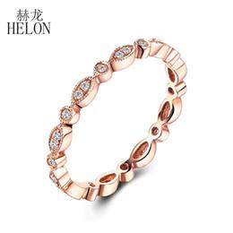HELON Fine Diamonds Band Solid 14 carati oro rosa con castone incastonati Diamond Ring Natural Diamond Art Deco anniversario d'epoca BAND D1892903 da