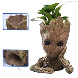Wholesale Green Guardian - Fashion Guardians of The Galaxy Flowerpot Baby Groot Action Figures Cute Model Toy Pen Pot Best Christmas Gifts For Kids