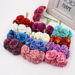 Wholesale Florist Flowers - 6pcs Silk Dendranthema Artificial Flower For Wedding Party Home Chrysanthemum Decoration Handmade Florists Craft Flower 3.5cm