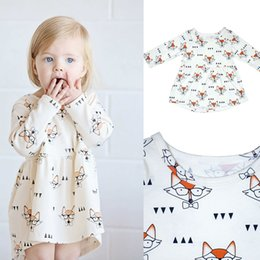 Wholesale Fox Dresses - INS Baby girls fox Glasses Printed dress 2018 new Children Long Sleeve princess dress Kids Clothing C3725