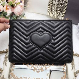 Wholesale Luxury Briefcases - women luxury brand envelope clutch bag Genuine Leather handbags quilted heart women hand bags day clutches purse briefcase handbag