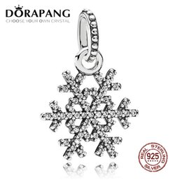 kiss flowers Coupons - DORAPANG 100% 925 Sterling Silver Winter Kiss Snowflake Pendant Clear CZ Pendant Bead For Mother Gift Bracelet DIY Bangle