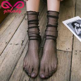 2019 calze ultra sottili da donna GIRLADY Summer Glitter Long Socks Women Calzini larghi Trasparente Ultra-Thin Mesh lucido Retro Fishnet Nylon Sox Meias Lady sconti calze ultra sottili da donna
