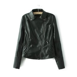 Wholesale Women Biker Jacket Faux Leather - Black Faux Leather Jacket Women Spring Stud rivet Moto Biker Zip Coats Chaqueta Blazer PU Jack Jaqueta Couro Rock Cuir Femme