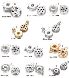 Wholesale 12mm Pendant - 11 Style Noosa Ginger Snap Button Jewelry Metal Chunks 18MM 12MM snap button Pendant and Hooks fit for Button bracelet  necklace earrings