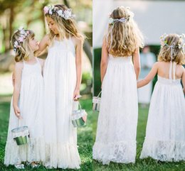 Discount pictures kids pageant dresses - White Lace Halter Flower Girl Dresses For Beach Wedding Party 2018 Backless Floor Length Girls Pageant Gowns Kids Formal Wear Cheap Dresses