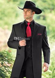 Canada Vintage Western Tuxedos Cowboy Slim Fit Noir Marié Costume Dîner De Mariage Costume Pour Hommes / Costume De Bal 3 Pièces (Veste + Pantalon + Gilet) Offre