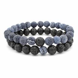 Sanar piedras online-Mujeres Hombres Natural Lava Rock Beads Chakra Pulseras Curación Energía Piedra Meditación Mala Pulsera Moda Aceite Esencial Difusor joyería