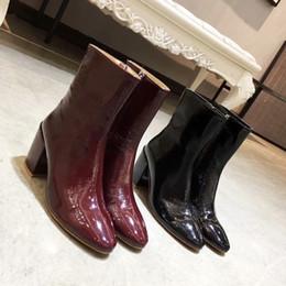 botas de tornozelo de salto grosso vermelho Desconto Vinho Tinto Mulheres Negras de Salto Grosso Ankle Boots Sapatos de Outono Senhoras Runway Cavaleiro Botas Sapatos Zíperes Vestido Feminino Martin Botas Zapatos