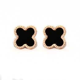 Wholesale Clover Earrings Black - Classic fashion black four-leaf clover lucky lady earring stud titanium steel rose gold earrings with a simple gift