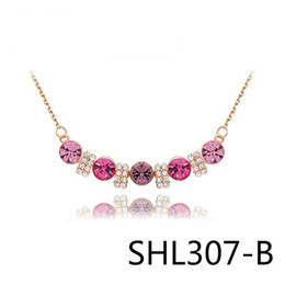 Wholesale Crystal Violet - Sell Well Jewelry Term Austria Crystal Rose Five Drill Violet Heart Necklace SHL307