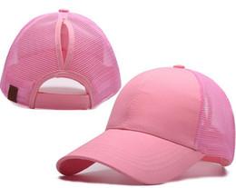 Wholesale Pink Pony Tail - WOMEN CC Ponytail CAP Fashion Girl Basketball Hats Back Hole Pony Tail Trucker Pony caps