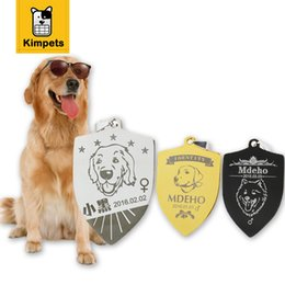 Wholesale Engraved Dog Name Tags - 2017 New Free Engraving Personalized Pet Tag Identification Customized Shield Type Dog Tag Name Phone Any Text for Pet ID