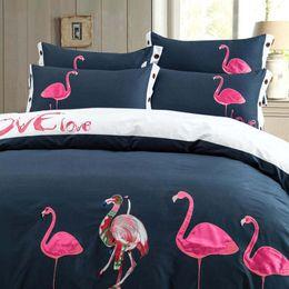Discount christmas comforters sets - Christmas Designer Bed Sheets Cotton Embroidered Ensembles de literie Luxury bed comforters set King size bedding 60s Duvet Cover Bed sheet