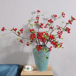 Wholesale Lighted Flower Branches - Artificial Flowers Berry Fruit Branch Plant Red Silk Flowers Wedding Decorations Home Furnishing Flower Party Decoration wholesale