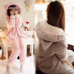 Wholesale Korean Cute Sexy - 3 colors Korean cute cat rabbit ears in autumn and winter thick Coral Fleece Pajamas comfortable flannel suit Home Furnishing Ms