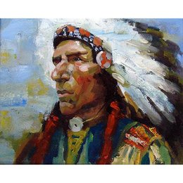 Wholesale Native American Fashions - Europe DIY Frameless printed canvas art native American Indian art Painting feathered wall for living room