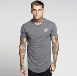 Siksilk Hip Hop T-shirt Dos Homens Streetwear Tops Manga Curta Preto Branco Longo T-shirt Longline Tees de