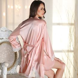 2019 vestido lleno de ropa interior sexy Conjunto de lencería de seda para mujer sexy con bata de dormir sólido y bata de dormir mini vestido de noche camisón de manga completa vestido lleno de ropa interior sexy baratos