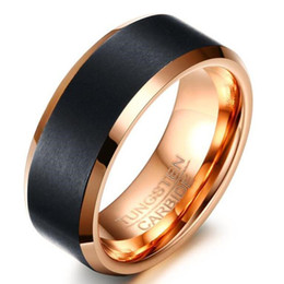 ZHF Jewelry 8 mm Negro Rose Gold Color Tungsteno Wedding Band Anillos Anillo Aniversario Comfort Fit Grabado libre desde fabricantes