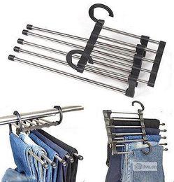 Wholesale Metal Pants Hangers - Wholesale- 1Pcs Magic Trousers Hanger 5 in 1 Stainless Steel Metal Clothes Pants Slacks Trousers Jeans Organizer Hanger Rack