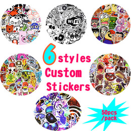 Wholesale Cartoon Tops - 50PCS Hot Sale Custom Stickers Blackboard Stickers for Rooms Laptop Skateboard Luggage Bicycle Guitar DIY 6 Styling Top Quality Sticker