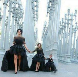 Wholesale Toddler Pageant Wear Christmas - Black Hi_Lo Pageant Dresses For Girls Jewel Long Sleeve Flower Girl Dresses For Toddlers Teens Kids Formal Wear Party Communion Dresses