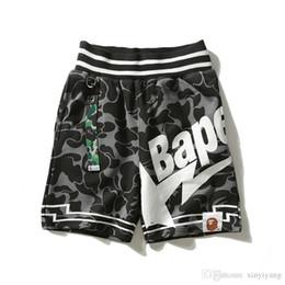 Sterndruckhose für männer online-2018 Neue Herren Sterne Grau Camouflage Brief Gedruckt Shorts Liebhaber Baumwolle Grau Camo Hip Hop Shorts Hosen
