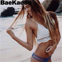 Wholesale Making Out Hot - BAEKADOO Hot Women Cotton Knit Beachwear Hand Made Lady Summer Camis Crochet Crop Top