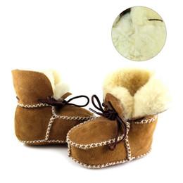 Wholesale sheepskin baby boy - Winter Baby Boys Shoes Sheepskin Genuine Leather Boots Infants Warm Real Fur Wool First Walkers Newborn Girls Booties Sneakers