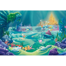 Wholesale little mermaid birthday party - Little Mermaid Birthday Party Photo Booth Backdrop Fishes Bubbles Gold Castle Under the Sea Princess Baby Girl Photography Studio Background