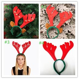 Ornamento do presente de natal on-line-50pcs Christmas decorations present fashion DIY Party Red Christmas antlers hair bands high quality ornaments 4style Party Supplies