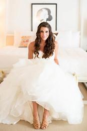 Ivory New Organza Princess Empire Vestido de novia con volantes 2018 Vestido largo de novia de novia con gradas Tamaño personalizado Romántico Playa Moderno Hermoso desde fabricantes