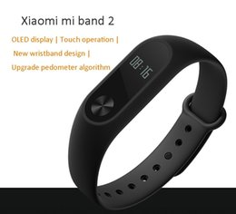 Wholesale Original Ios - Original Xiaomi Mi Band 2 Smart Fitness Bracelet watch Wristband Miband OLED Touchpad Sleep Monitor Heart Rate Mi Band2 Free Screen Film