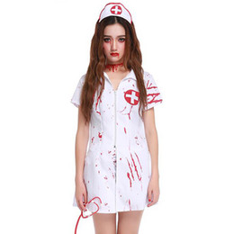 dcf6cb7272bc8 2018 New Vampire Nurse Uniforms Ghost Adult Women Doctor Doctors Halloween  Game Stage Bar Costume Cosplay Party Dress sexy