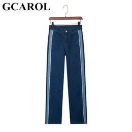 98c6d269e32 GCAROL 2018 Euro Style Women Straight Denim Jeans High Waisted Striped  Spliced Wide Leg Pants Street Wear Jeans Plus Size 25-31