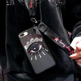 Due copertine posteriori del telefono online-YunRT Luxury Relief FAI DA TE Occhi Coppia Tpu Custodia in silicone per iPhone X 6 6 S Plus 7 Plus 8 Plus doppio cinturino posteriore Coque