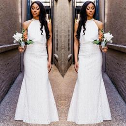 Hochzeitsgastkleider röcke online-Lace Mermaid Wedding Guest Kleid Günstige Strand Mädchen der Ehre Kleider bodenlangen Zwei Stücke Abendkleid nach Maß Hüllen-Spitze-Rock