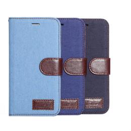 Canada Denim PU Cas Pour iPhone 6 6 s 6 plus 6 splus Flip Couverture De Mode Durable Haute Qualité Cas de Téléphone De Protection Coque Noir Profond Bleu Clair Offre