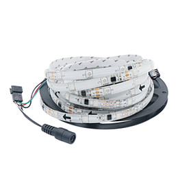 Wholesale Smart Advertisements - Edison2011 DV 12V SMD 5050 LED RGB Strip 5M lot 1903 Smart IC Addressable Digital LED Flexible Tape Lamp Waterproof with 1903 Controller